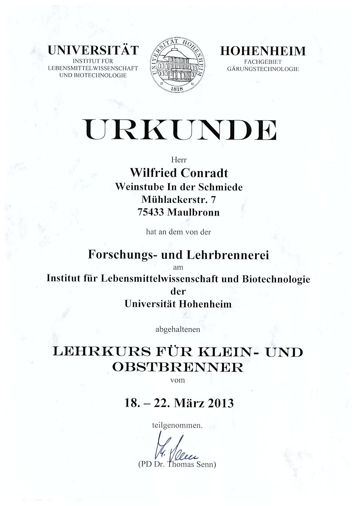 Urkunde Brennkurs